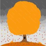 L'arbre d'automne dans la pluie et la chute laisse sur le fond un ciel orageux illustration de vecteur