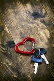 L'arbre dans le symbole de fond et de coeur, et clé deux verrouillés. Images libres de droits