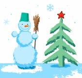 L'arbre de bonhomme de neige et de Noël, childs dessinant, a coloré des crayons illustration stock