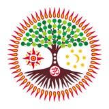 L'arbre de la vie dans un halo ensoleillé avec l'aum de symbole/OM/ohm Vecteur illustration stock