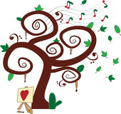 L'arbre de musique et de peinture Photo libre de droits
