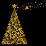 L'arbre de Noël abstrait entoure des coeurs d'étoiles Images stock