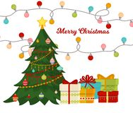 L'arbre de Noël avec des boules de cadeaux de sapin allume décoration de bonne année de célébration de Noël de carte de cadeau d' Photographie stock
