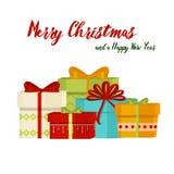 L'arbre de Noël avec des boules de cadeaux de sapin allume décoration de bonne année de célébration de Noël de carte de cadeau d' Image stock