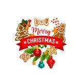 L'arbre de Noël avec la bannière de biscuit et de ruban badge Photographie stock