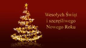 L'arbre de Noël avec le scintillement se tient le premier rôle sur le fond rouge, salutations polonaises de saisons illustration libre de droits