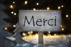 L'arbre de Noël blanc, moyens de Merci vous remercient photographie stock libre de droits