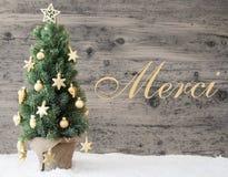 L'arbre de Noël décoré d'or, moyens de Merci vous remercient photographie stock