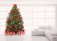 L'arbre de Noël dans l'intérieur blanc 3d rendent Photo stock