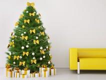 L'arbre de Noël dans la chambre 3d intérieur rendent Photographie stock