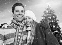 L'arbre de Noël de couples ornemente le concept d'hiver de bonheur Photos libres de droits
