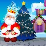 L'arbre de Noël mal décoré avec la guirlande non allumée, a animé Santa Claus triste Échantillon d'affiche de nouvelle année Vect illustration stock