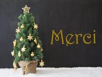 L'arbre de Noël, moyens de Merci vous remercient, béton noir image stock