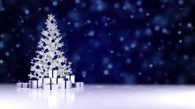 L'arbre de Noël tourne avec des cadeaux de nouvelle année dans des boîtes sur un fond foncé de chutes de neige illustration libre de droits