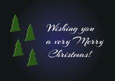 L'arbre de vert de Noël 3d a placé sur le fond bleu, carte simple minimalistic de Joyeux Noël te souhaitant un Noël très Joyeux Photographie stock
