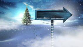 L'arbre et la flèche de Noël signent dedans le paysage d'hiver banque de vidéos