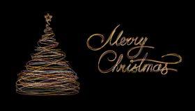 L'arbre et le texte de Noël marient Noël fait d'or, blanc, fond de noir de Grey And Pink Wire On Photo libre de droits