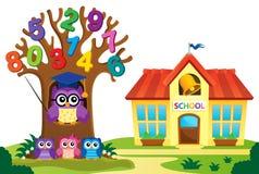 L'arbre et les hiboux s'approchent du thème 3 d'école illustration stock