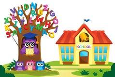 L'arbre et les hiboux s'approchent du thème 2 d'école illustration stock