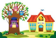 L'arbre et les hiboux s'approchent du thème 1 d'école illustration stock