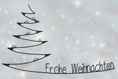L'arbre, Frohe Weihnachten signifie le Joyeux Noël, Gray Background illustration de vecteur