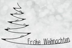 L'arbre, Frohe Weihnachten signifie le Joyeux Noël, Gray Bokeh Background illustration stock