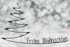 L'arbre, Frohe Weihnachten signifie le Joyeux Noël, Grey Background illustration stock