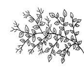 L'arbre tiré par la main avec des feuilles gribouillent l'illustration de style illustration stock