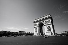 L'Arc de Triomphe. Wide angle view of the Arc de Triomphe, in Paris, France Stock Images