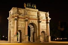 L'Arc de triomphe du Carrousel. Paris's L'Arc de triomphe du Carrousel at night Stock Photos