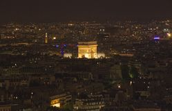 L'Arc de Triomphe at Night Stock Photo