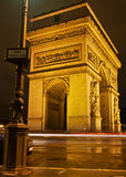 L'Arc de Triomphe at Night Royalty Free Stock Photography