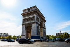 L`arc de Triomphe in Paris. France with blue sky Royalty Free Stock Image