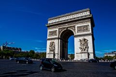 L`arc de Triomphe in Paris. France with blue sky royalty free stock photography