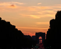 L'Arc de Triomphe at Sunset Stock Image