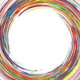 L'arc-en-ciel abstrait a courbé des lignes fond coloré de cercle de cadre Photographie stock