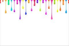 L'arc-en-ciel colore des baisses brillantes de peinture à l'huile sur le blanc Photos libres de droits