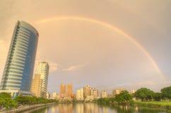 L'arc-en-ciel dans le canal de Tainan Photos libres de droits