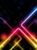 L'arc-en-ciel raye le laser de néon de fond Photographie stock