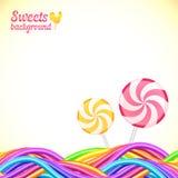 L'arc-en-ciel rond de sucrerie colore le fond de bonbons Image libre de droits
