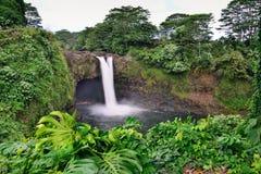 L'arc-en-ciel tombe près de Hilo, grande île d'Hawaï Image stock