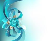 L'arc en soie avec une turquoise a monté Image stock