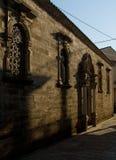 L'architecture de bâtiments historiques de Leucade Grèce détaille des ruines Windows Photos libres de droits