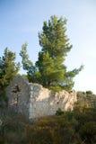 L'architecture de bâtiments historiques de nature d'été de Leucade Grèce détaille des ruines Images libres de droits