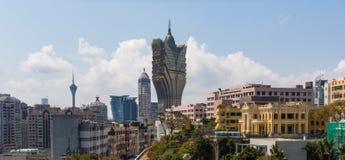 L'architecture portugaise de la vieille ville Macao, Chine photographie stock