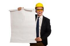 L'architetto divertente con i disegni su bianco immagini stock