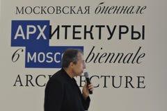 L'architetto Sergey Choban parla a ArchMoscow Fotografie Stock Libere da Diritti