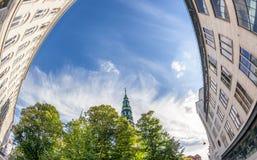 L'architettura a Copenhaghen, arte ha sparato su un fish-eye, costruente Fotografie Stock Libere da Diritti