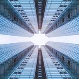 L'architettura dettaglia la prospettiva moderna della costruzione futuristica Immagine Stock