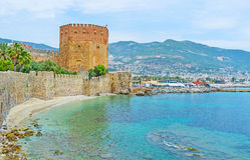 L'architettura medievale in Alanya Fotografia Stock